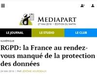 [Mediapart] RGPD: la France au rendez-vous manqué de la protection des données