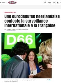[Liberation] Une eurodéputée néerlandaise conteste la surveillance internationale à la française