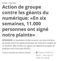 [20Minutes] Action de groupe contre les géants du numérique : « En six semaines, 11.000 personnes ont signé notre plainte »