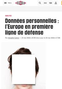 [Liberation] Données personnelles : l'Europe en première ligne de défense