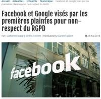 [Euractiv] Facebook et Google visés par les premières plaintes pour non-respect du RGPD