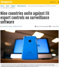 [Euractiv] Nine countries unite against EU export controls on surveillance software