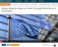 [NextINpact] Filtrage&nbsp: déluge de critiques sur l'article 13 du projet de directive sur le droit d'auteur