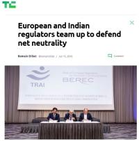 [TechCrunch] European and Indian regulators team up to defend net neutrality