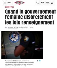 [Liberation] Quand le gouvernement remanie discrètement les lois renseignement