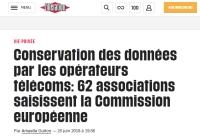 [Liberation] Conservation des données par les opérateurs télécoms: 62 associations saisissent la Commission européenne