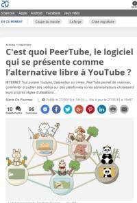 [20Minutes] C'est quoi PeerTube, le logiciel qui se présente comme l'alternative libre à YouTube ?