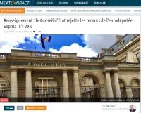 [NextINpact] Renseignement : le Conseil d'État rejette les recours de l'eurodéputée Sophia in't Veld