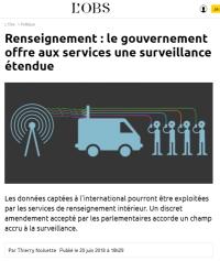 [NouvelObs] Renseignement : le gouvernement offre aux services une surveillance étendue