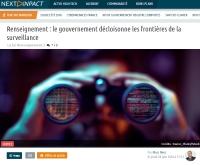 [NextINpact] Renseignement : le gouvernement décloisonne les frontières de la surveillance