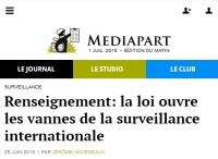 [Mediapart] Renseignement: la loi ouvre les vannes de la surveillance internationale