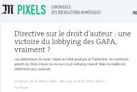 [LeMonde] Directive sur le droit d'auteur : une victoire du lobbying des GAFA, vraiment ?