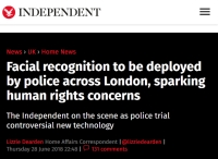[TheIndependent] Facial recognition to be deployed by police across London, sparking human rights concerns