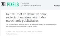 [LeMonde] La CNIL met en demeure deux sociétés françaises gérant des mouchards publicitaires