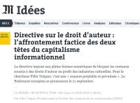 [LeMonde] Directive sur le droit d'auteur : l'affrontement factice des deux têtes du capitalisme informationnel