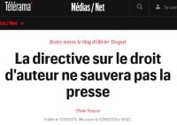 [Telerama] La directive sur le droit d'auteur ne sauvera pas la presse