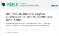 [LeMonde] Sur Internet, Bruxelles exige la suppression des contenus terroristes dans l'heure