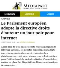 [Mediapart] Le Parlement européen adopte la directive droits d'auteur: un jour noir pour internet