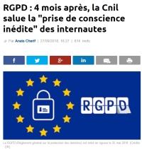[LaTribune] RGPD : 4 mois après, la Cnil salue la prise de conscience inédite des internautes