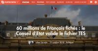 [Numerama] 60 millions de Français fichés : le Conseil d'Etat valide le fichier TES
