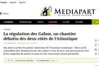 [Mediapart] La régulation des Gafam, un chantier débattu des deux côtés de l'Atlantique