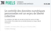 [LeMonde] Le contrôle des données numériques personnelles est un enjeu de liberté collective