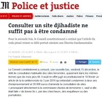 [LeMonde] Consulter un site djihadiste ne suffit pas à être condamné