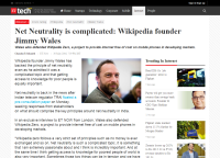 [ETtech] Net Neutrality is complicated: Wikipedia founder Jimmy Wales