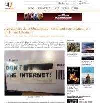 [ActuLitté] Les ateliers de la Quadrature : comment être créateur en 2016 sur Internet ?