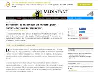 [Médiapart] Terrorisme: la France fait du lobbying pour durcir la législation européenne