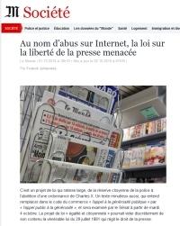 [LeMonde] Au nom d'abus sur Internet, la loi sur la liberté de la presse menacée