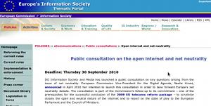 Consultation de la Commission européenne sur la neutralité du Net