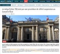 [NextINpact] Le méga-fichier TES visé par une procédure de référé suspension au Conseil d'État