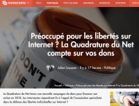 [Numerama] Préoccupé pour les libertés sur Internet ? La Quadrature du Net compte sur vos dons
