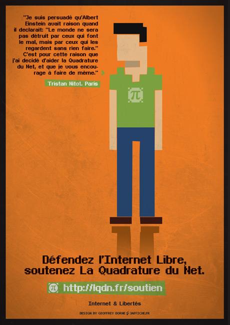 'portrait' de Tristan Nitot par Geoffrey Dorne en soutien à la Quadrature du Net