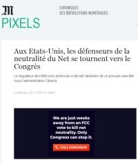 [LeMonde] Aux Etats-Unis, les défenseurs de la neutralité du Net se tournent vers le Congrès