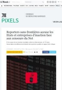 [LeMonde] Reporters sans frontières accuse les Etats et entreprises d'inaction face aux censeurs du Net