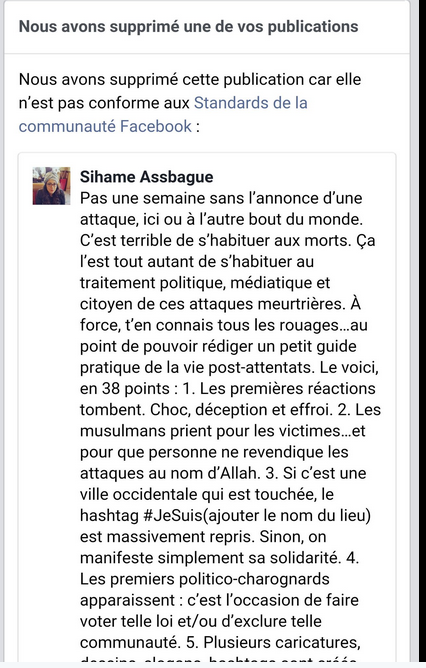 Sihame Assbague Censure Facebook