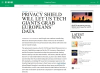 [WIRED] Privacy Shield Will Let US Tech Giants Grab Europeans' Data