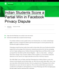 [Bloomberg] Indian Students Score a Partial Win in Facebook Privacy Dispute